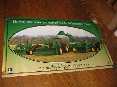 John Deere 1993 Old Logo Dealer Loaders Advertising Poster With 4020 Tractor