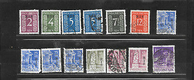 Indonesien RIS 1949, early years, lot used, see perforations !!