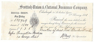 1881 Billhead Scottish Union & National Insurance Co, St Andrew Square EDINBURGH