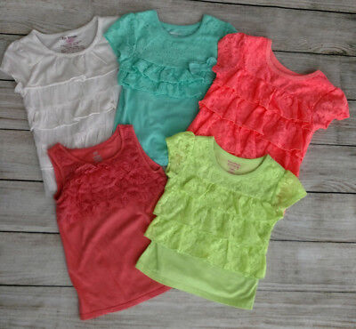 Lot of 5 Girls Spring Summer Clothes Lace Tops 3T 4T Old Navy Garanimals & More