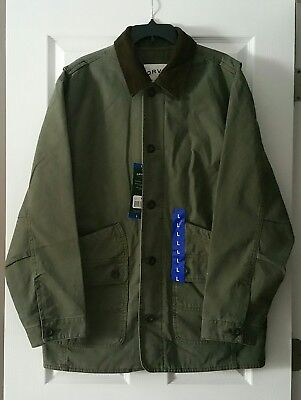 Orvis Barn Coat Men's Large Heavy Cotton Canvas Shell Quilted Lining Sage Color