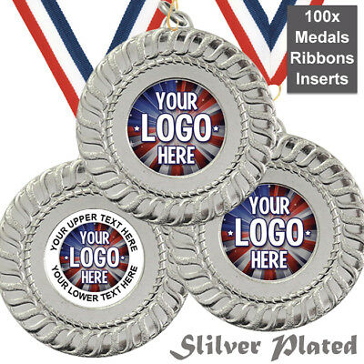 PACK OF 100x SILVER PLATED 50mm MEDALS WITH RIBBONS & OWN LOGO INSERTS!