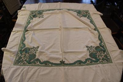 Vintage 50X57 White Cotton Tablecloth With Embroidered Green Teal Dragons Flower