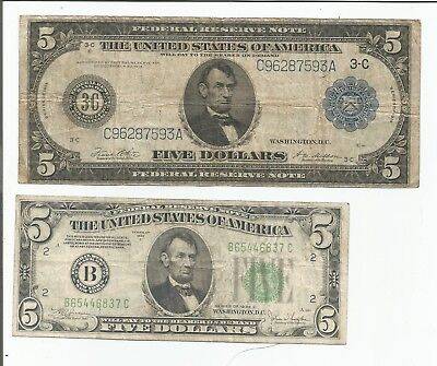 1914 $5 Large - 1934 $5 Federal Reserve Notes
