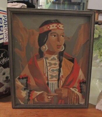 Vintage Framed Paint by Number Native American Maiden 9 x 11