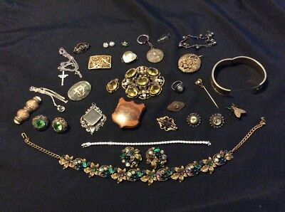 Vtg Jewelry Lot Victorian Brooch Taxco Sterling Silver Antique Cameo Gold Tone