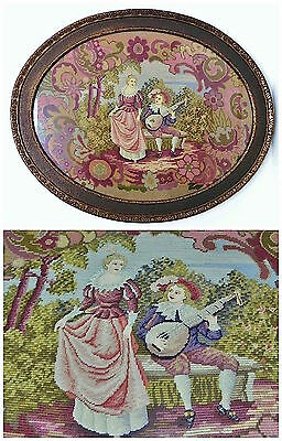 Antique Framed Rococo Courting Scene Embroidery Petite Point Tapestry 30x24.5