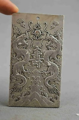 Collectable Handwork Decor Old mIao SIlver Carve Dragon Exorcism Lucky Pendant