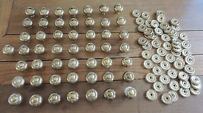 Vintage Solid Brass Metal Cabinet Door Knobs Pulls Lot of 50 w/ Plates - 1.25""