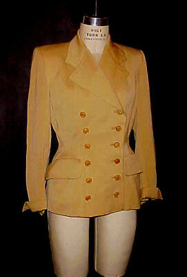 VTG 1940s WWII DBLE BREASTED RIDING STYLE JACKET, GABARDINE by FOSTER ROCKABILLY