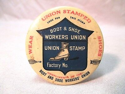 VINTAGE 1920s  BOOT AND SHOE WORKERS UNION POCKET MIRROR SIGN BUSTER BROWN