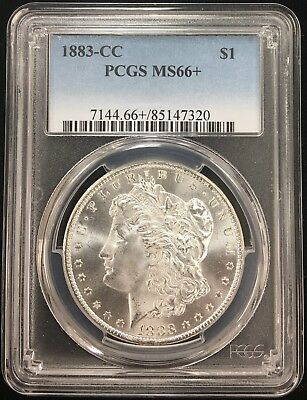 1883-Cc Pcgs Ms66+ Morgan Silver Dollar!! Blast White!!
