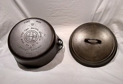 Vintage Griswold #9 Iron Dutch Oven Chicken Fryer W/Top Large Logo Antique NICE!