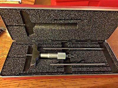 "Starrett Depth DEPTH Micrometer 2.5"" BASE Case NO. 449 0-3'"