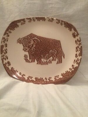 Vintage Beefeater Steak Plates English Ironstone Brown Bull