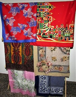 LOT OF 26 SCARVES Vintage Square, Long Rectangles & Triangle Silk, Satin, Sheer