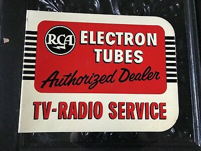 Metal RCA electron tubes sign from old TV repair shop