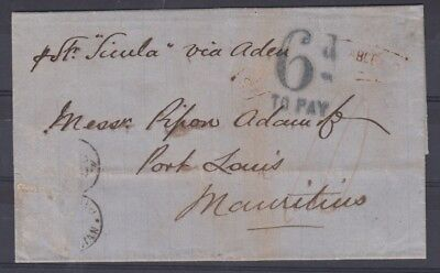India 1867 to Mauritius - 6d to pay - stamps 'lost'