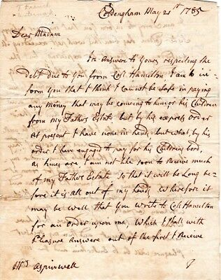 1785, Calwallader Colden, New York Loyalist, letter signed re: Colonel Hamilton