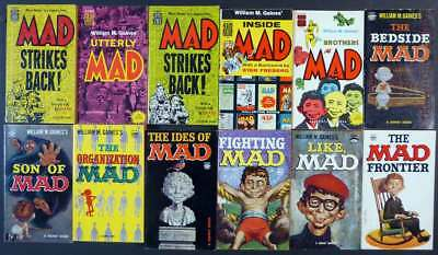 Lot 1: 12 Mad Magazine  Paperback Cartoon Book Collections 1955–1962