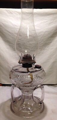 Antique Victorian Massive Double Handle Sewing Oil Lamp With Chimney & Burner