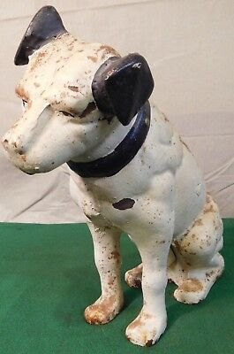 """Vintage Victor Phonograph Cast Iron 10"""" Nipper Dog Penny Coin Bank"""