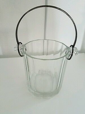 """Glass Ice Bucket  5 1/4"""" x 4 1/4""""  Etched stamped Italy"""