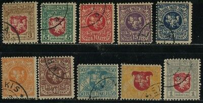 .Lithuania Stamps 1919 Coat of Arms set of 10 Sc 30-39