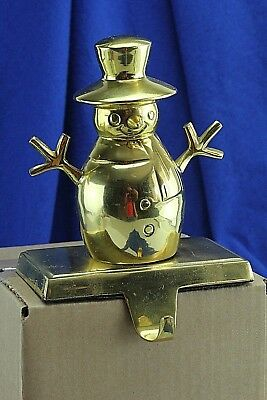 Vintage Heavy Solid Brass Snowman Christmas Stocking Hanger. Over 2 Pounds!