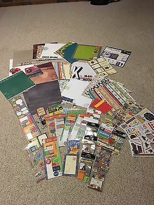 Large Lot Of New And Used Asst School Scrapbooking Paper Stickers