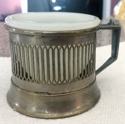 Antique SHAVING MUG with MILK GLASS INSERT* Vintage Silverplate Cup
