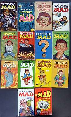 Lot 2: 14 Mad Magazine  Paperback Cartoon Book Collections 1963–1973