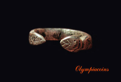 **EXTRAORDINARY ** Very small  Ancient Celtic silver ring ** TWO SNAKES **