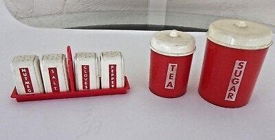 Vintage Ideal Play Kitchen Red Plastic Canisters / Spice Lot of 6
