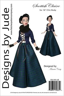 """Outlander Scottish Claire Doll Clothes Sewing Pattern for 16"""" Chic Body Tonner"""