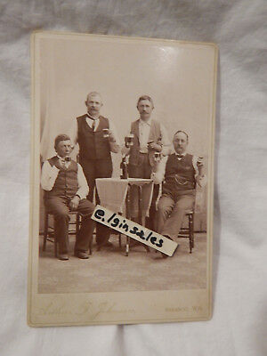 Cabinet Photo of Four Men Drinking Effinger Beer in Baraboo, WIS WI Wisconsin
