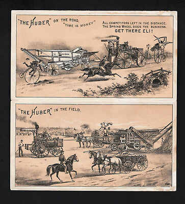 1870s Trade Card 4 panel Folder - Huber Traction Engines &Threshers - Manon Ohio