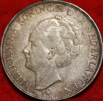 1931 Netherlands 2 1/2 Gulden Silver Foreign Coin