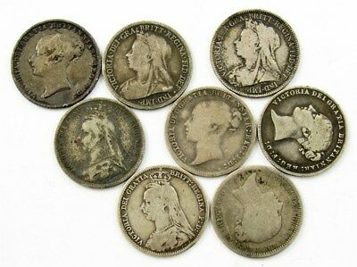 Lot of 8 Great Britain Victorian 6 Pence Coins - Avg Circ or Better - 1864-1899