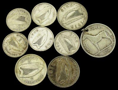 Lot of 9 Ireland Silver Coins (1928-1940) - ½ Crown Florin & Shilling
