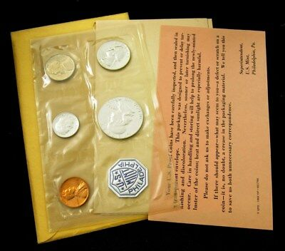 1962 US Mint Silver Proof Set Flat Pack w/ COA & Envelope - 5 Coins Uncirculated