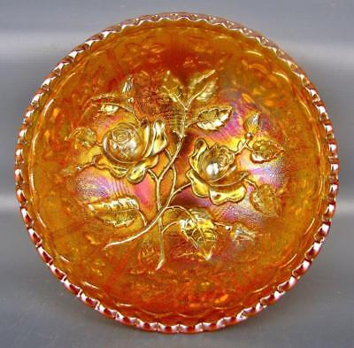 Carnival Glass - Imperial OPEN ROSE Antique Marigold Small Berry Bowl  4501