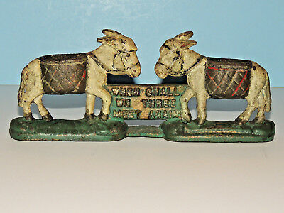 "Antique 1800's Cast Iron Donkey Match Holder ""When Shall We Three Meet Again"""