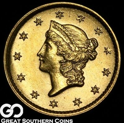 1854 Gold Dollar, $1 Gold Liberty, Type 1, Beautiful Solid Gem BU++