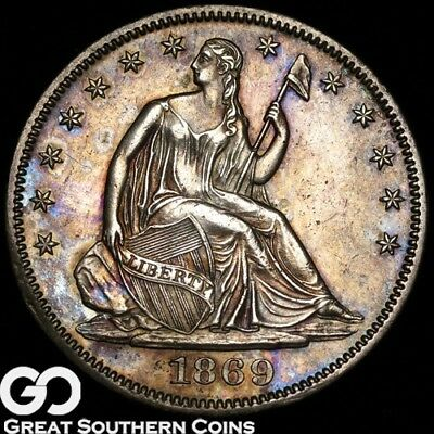 1869 Seated Liberty Half Dollar, Very Choice AU++/Unc Better Date ** Free S/H!