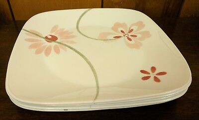 Corning Ware Corelle Square Dinner Plate in Pretty Pink Design - Check Avail Qty