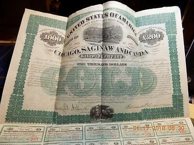 1873 Chicago, Saginaw and Canada Railroad Company $1000 Gold Bond w/ Coupons