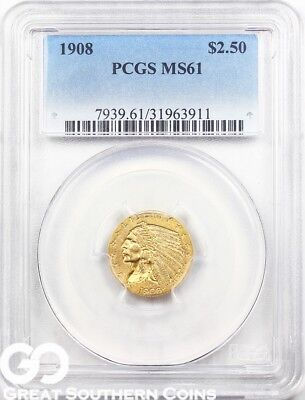 1908 PCGS Quarter Eagle, $2.5 Gold Indian PCGS MS 61 ** Nice First Year Issue!