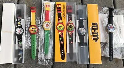6 MIP M&M's WATCHES Candy unused Special Edition M & M s 1990's 90's
