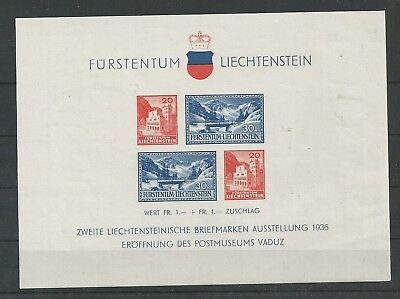 LIECHTENSTEIN 1936 Briefmarkenausstellung VADUZ Block **